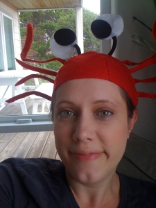 Sarah with a crab hat